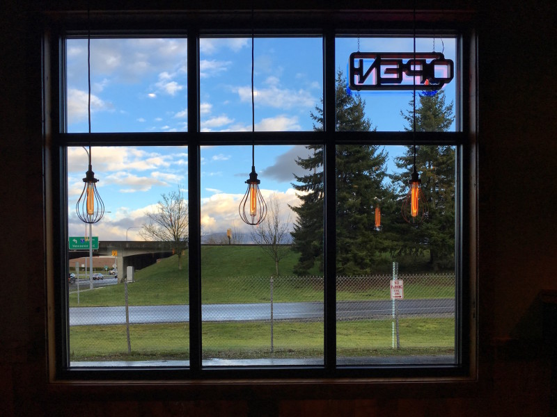 The window view, from the inside of Woods Coffee, in Mount Vernon, Washington.