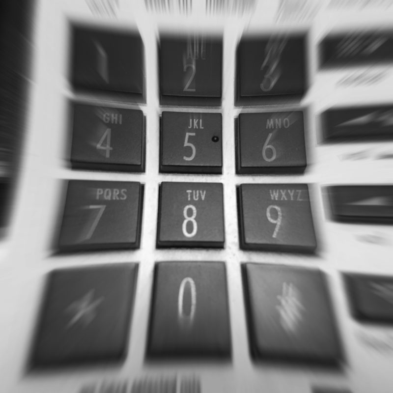 This is a unique view of a telephone keypad.